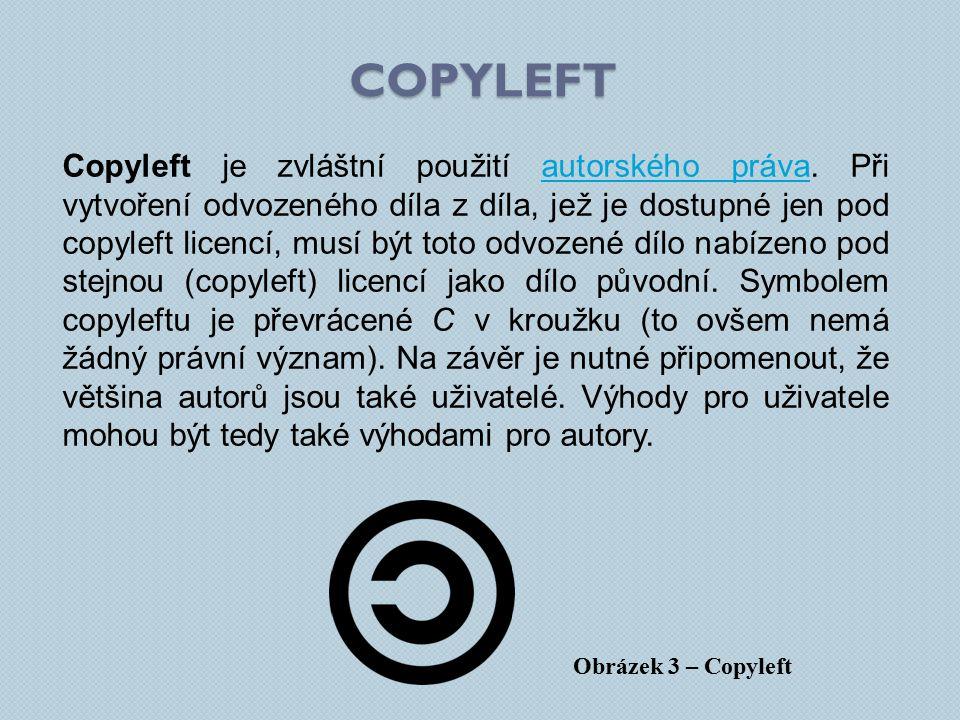 Copyleft je zvláštní použití autorského práva.