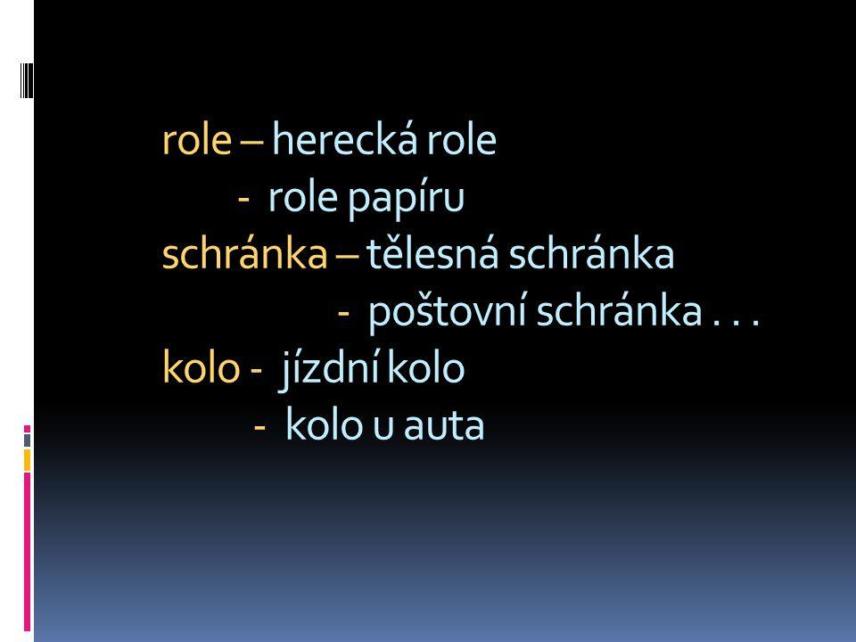 role – herecká role - role papíru schránka – tělesná schránka - poštovní schránka... kolo - jízdní kolo - kolo u auta