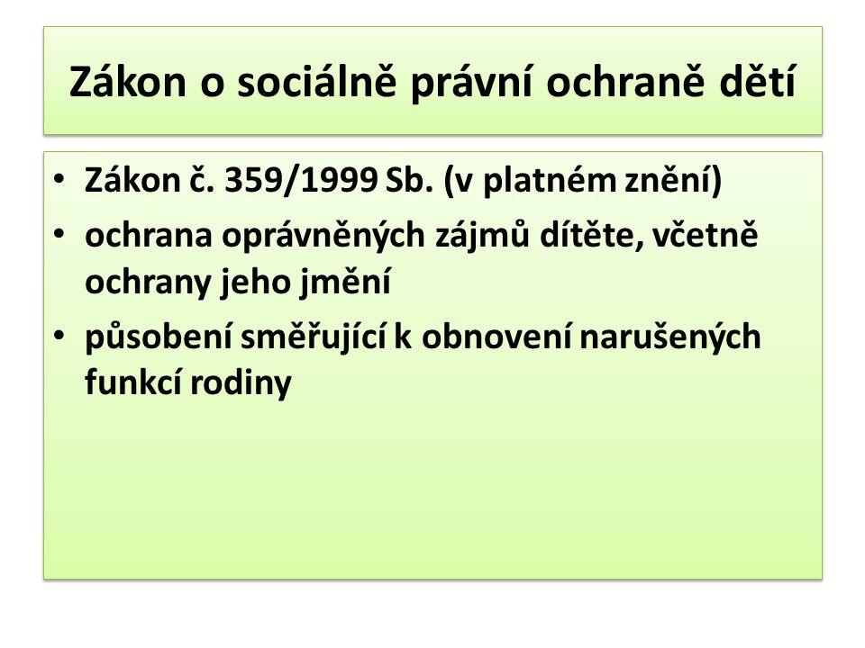 Zákon o sociálně právní ochraně dětí Zákon č. 359/1999 Sb. (v platném znění) ochrana oprávněných zájmů dítěte, včetně ochrany jeho jmění působení směř