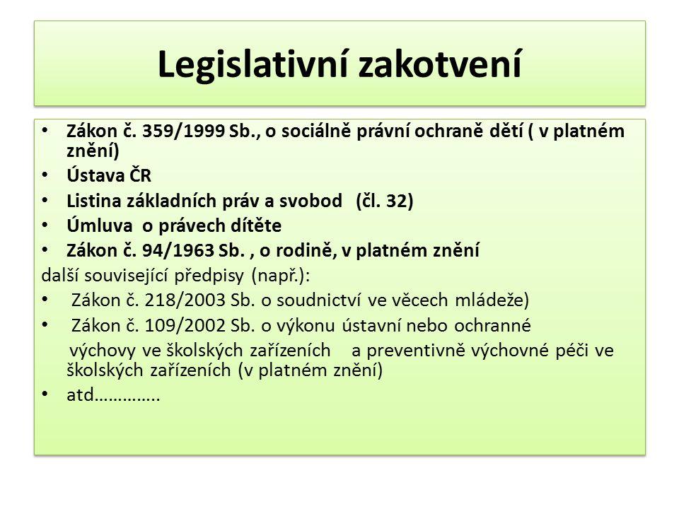 Legislativní zakotvení Zákon č. 359/1999 Sb., o sociálně právní ochraně dětí ( v platném znění) Ústava ČR Listina základních práv a svobod (čl. 32) Úm