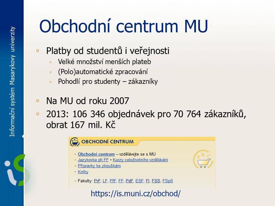 Obchodní centrum MU ▫ Platby od studentů i veřejnosti ▫ Velké množství menších plateb ▫ (Polo)automatické zpracování ▫ Pohodlí pro studenty – zákazník