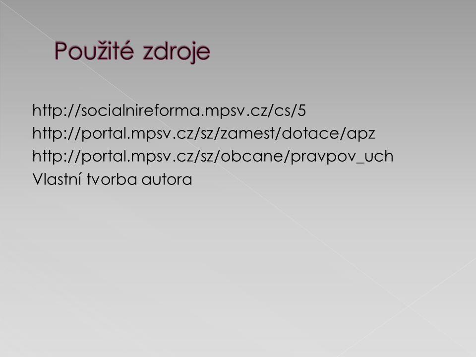 http://portal.mpsv.cz/sz/zamest/dotace/apz http://portal.mpsv.cz/sz/obcane/pravpov_uch Vlastní tvorba autora