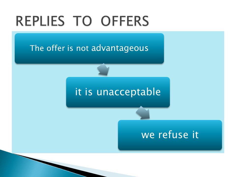 The offer is not advantageous it is unacceptablewe refuse it