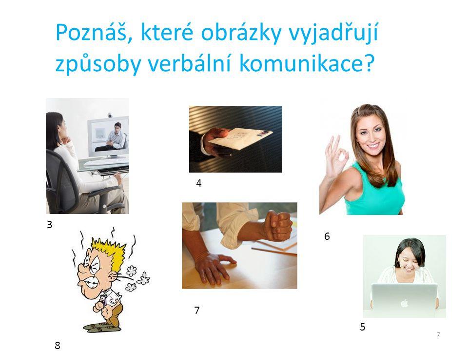 7 Poznáš, které obrázky vyjadřují způsoby verbální komunikace? 3 4 5 6 7 8