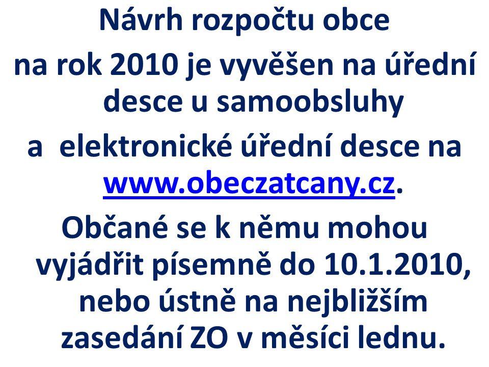 Návrh rozpočtu obce na rok 2010 je vyvěšen na úřední desce u samoobsluhy a elektronické úřední desce na www.obeczatcany.cz. www.obeczatcany.cz Občané