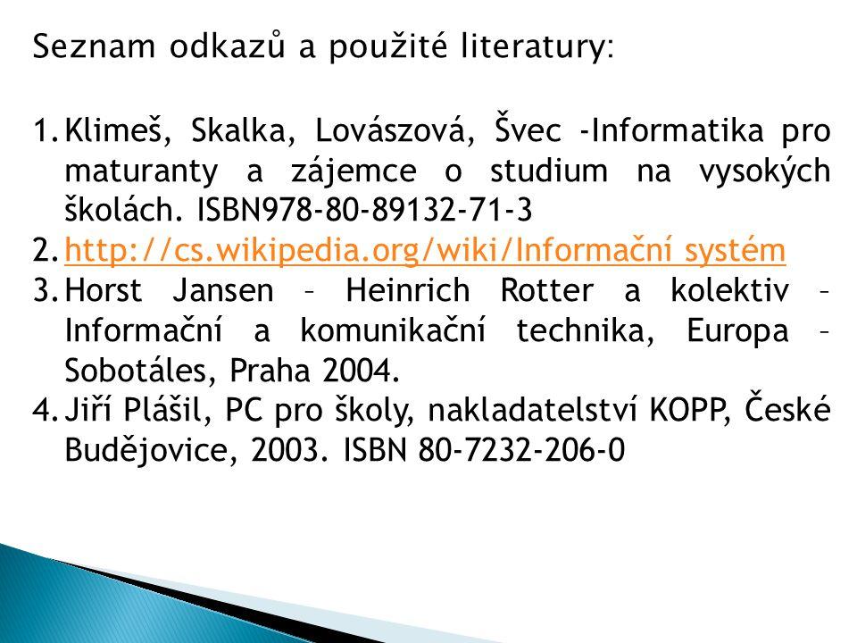 Seznam odkazů a použité literatury: 1.Klimeš, Skalka, Lovászová, Švec -Informatika pro maturanty a zájemce o studium na vysokých školách.
