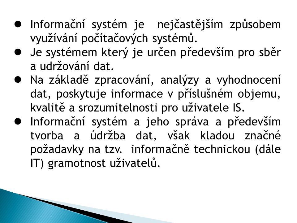 Příklady využití IT systémů 1.Administrativní systémy 2.Obchodní a logistické systémy 3.Finanční systémy 4.Systémy zajišťující bezpečnost a dohled 5.Zdravotní systémy 6.Telekomunikační systémy a přenos dat 7.Geografické systémy 8.A celá řada dalších specifických systémů které jsou zpravovány za pomoci výpočetní techniky.