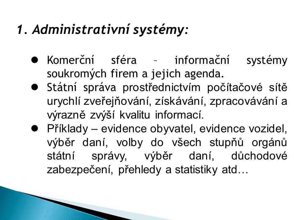 3.Informační systémy městské policie, patří do: a)Systému zajišťující dohled a bezpečnost b)Obchodního a logistického systému c)Administrativního systému 4.Informační systémy katastrálního úřadu, mapy a pozemky, patří do: a)Systému zajišťující dohled a bezpečnost b)Geografického systému c)Administrativního systému