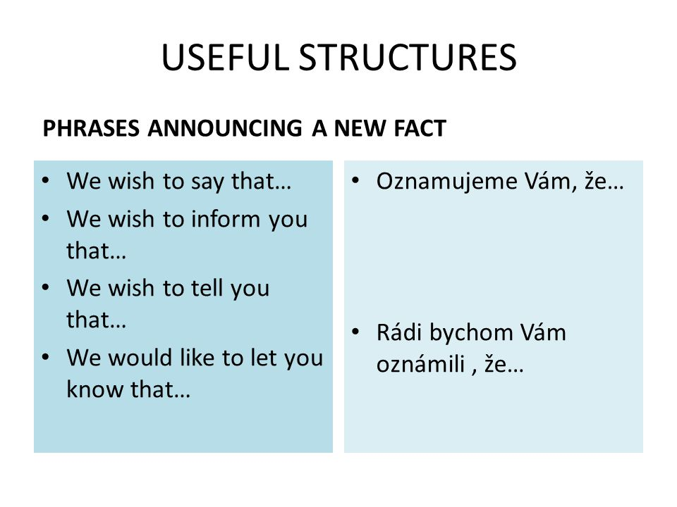 USEFUL STRUCTURES PHRASES ANNOUNCING A NEW FACT We wish to say that… We wish to inform you that… We wish to tell you that… We would like to let you know that… Oznamujeme Vám, že… Rádi bychom Vám oznámili, že…