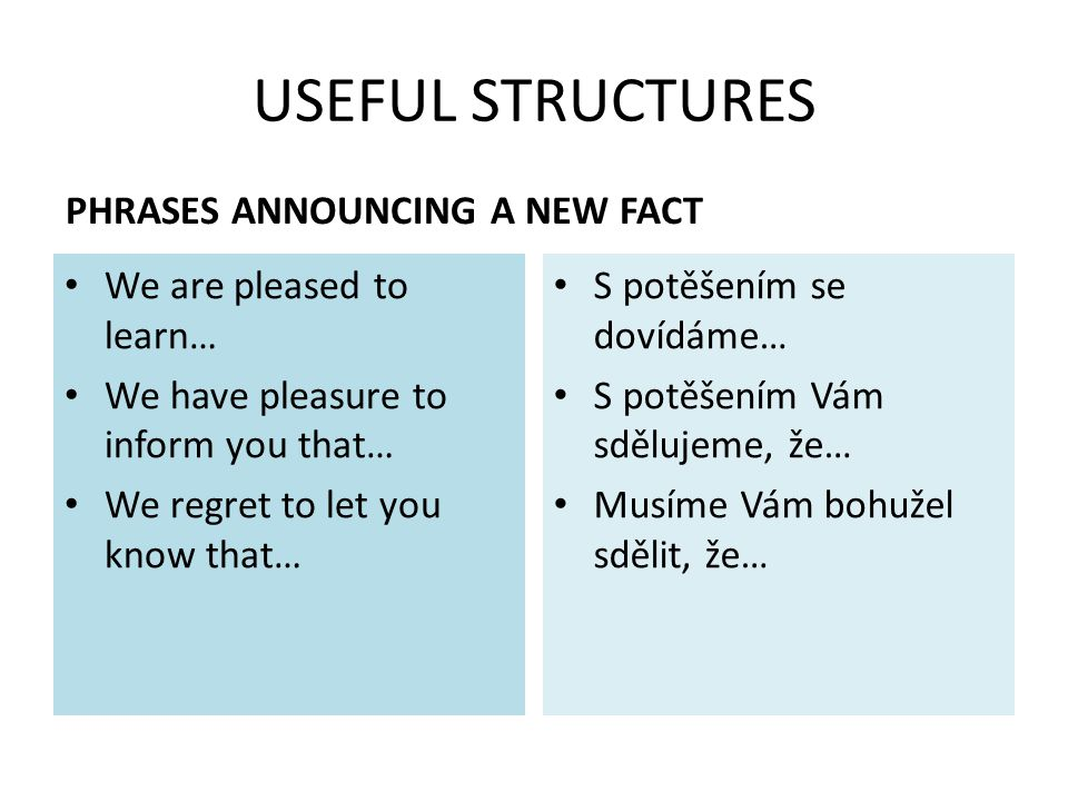 USEFUL STRUCTURES PHRASES ANNOUNCING A NEW FACT We are pleased to learn… We have pleasure to inform you that… We regret to let you know that… S potěšením se dovídáme… S potěšením Vám sdělujeme, že… Musíme Vám bohužel sdělit, že…