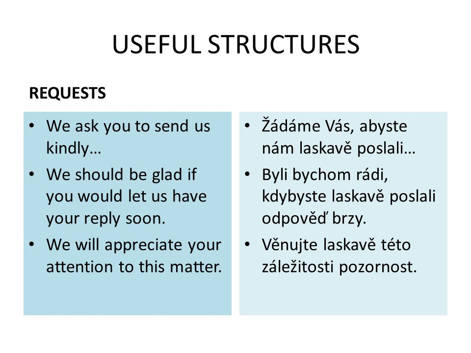 USEFUL STRUCTURES REQUESTS We ask you to send us kindly… We should be glad if you would let us have your reply soon. We will appreciate your attention