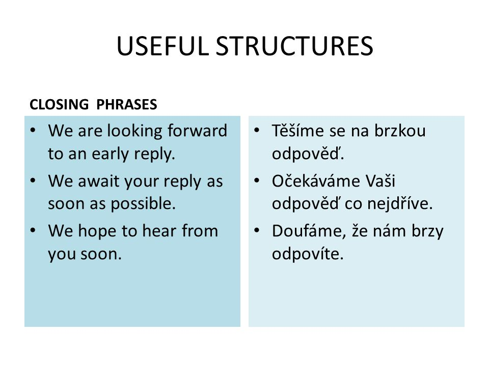 USEFUL STRUCTURES CLOSING PHRASES We are looking forward to an early reply.