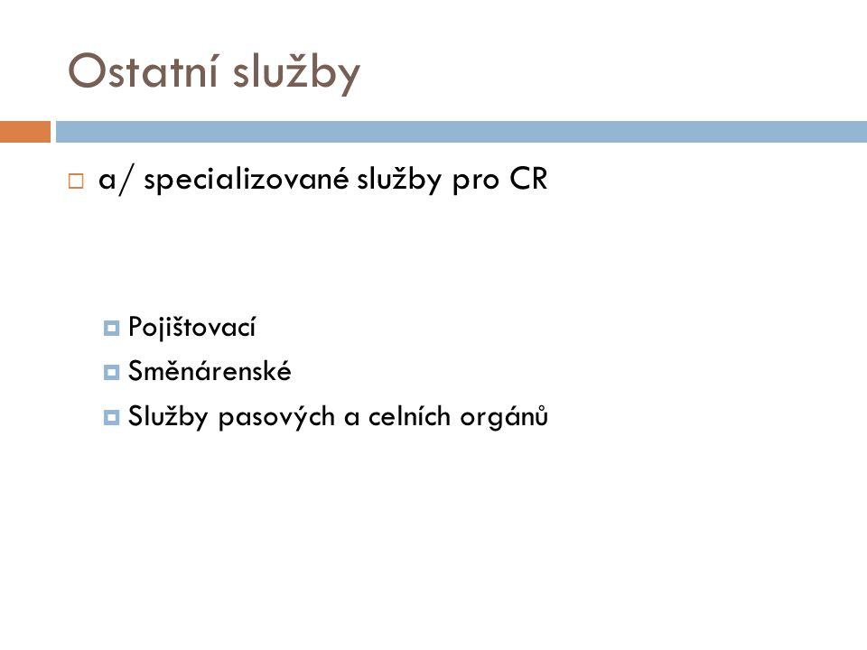 Ostatní služby  a/ specializované služby pro CR  Pojištovací  Směnárenské  Služby pasových a celních orgánů