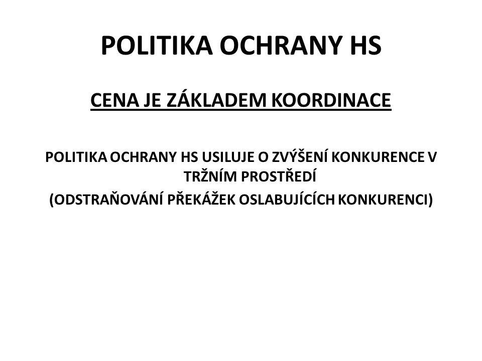 POLITIKA OCHRANY HS CENA JE ZÁKLADEM KOORDINACE POLITIKA OCHRANY HS USILUJE O ZVÝŠENÍ KONKURENCE V TRŽNÍM PROSTŘEDÍ (ODSTRAŇOVÁNÍ PŘEKÁŽEK OSLABUJÍCÍCH KONKURENCI)