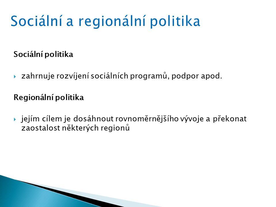Sociální politika  zahrnuje rozvíjení sociálních programů, podpor apod.