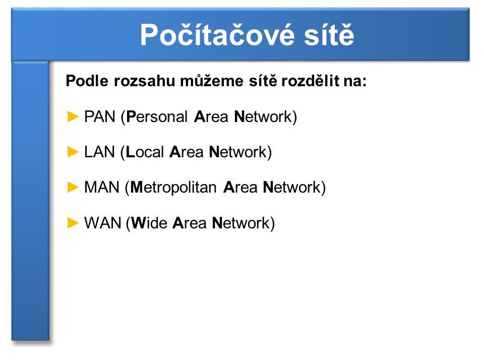 Podle rozsahu můžeme sítě rozdělit na: ►PAN (Personal Area Network) ►LAN (Local Area Network) ►MAN (Metropolitan Area Network) ►WAN (Wide Area Network) Počítačové sítě