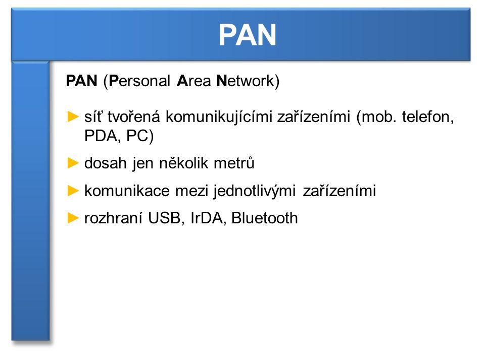 PAN (Personal Area Network) ►síť tvořená komunikujícími zařízeními (mob.