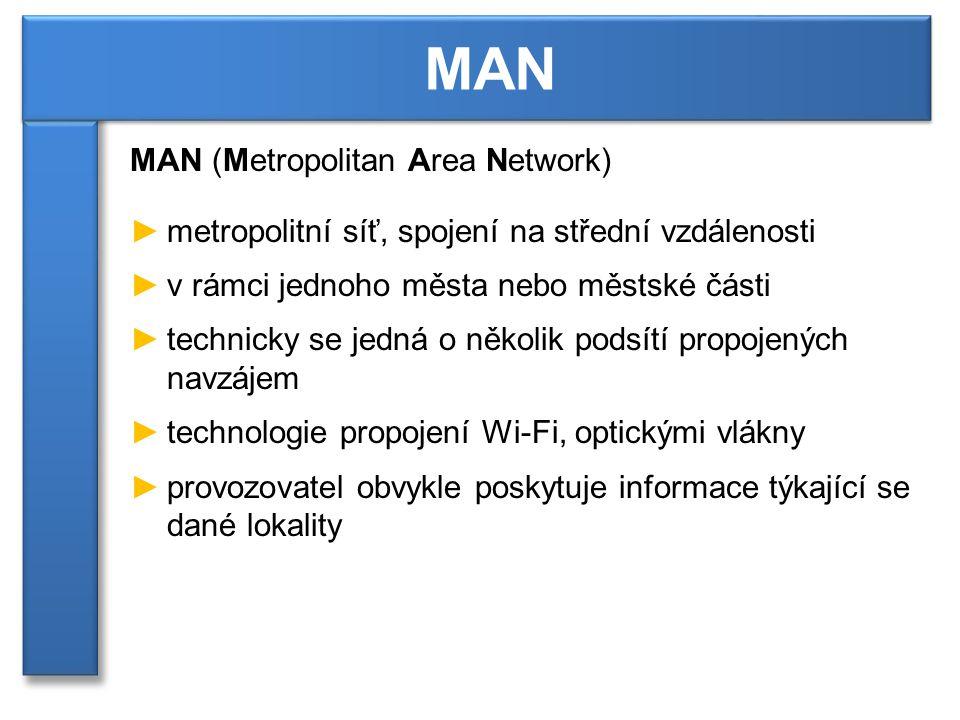 MAN (Metropolitan Area Network) ►metropolitní síť, spojení na střední vzdálenosti ►v rámci jednoho města nebo městské části ►technicky se jedná o několik podsítí propojených navzájem ►technologie propojení Wi-Fi, optickými vlákny ►provozovatel obvykle poskytuje informace týkající se dané lokality MAN