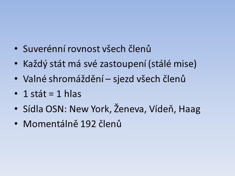 Suverénní rovnost všech členů Každý stát má své zastoupení (stálé mise) Valné shromáždění – sjezd všech členů 1 stát = 1 hlas Sídla OSN: New York, Ženeva, Vídeň, Haag Momentálně 192 členů