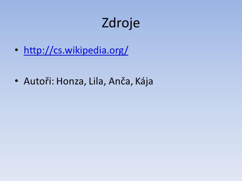 Zdroje http://cs.wikipedia.org/ Autoři: Honza, Lila, Anča, Kája