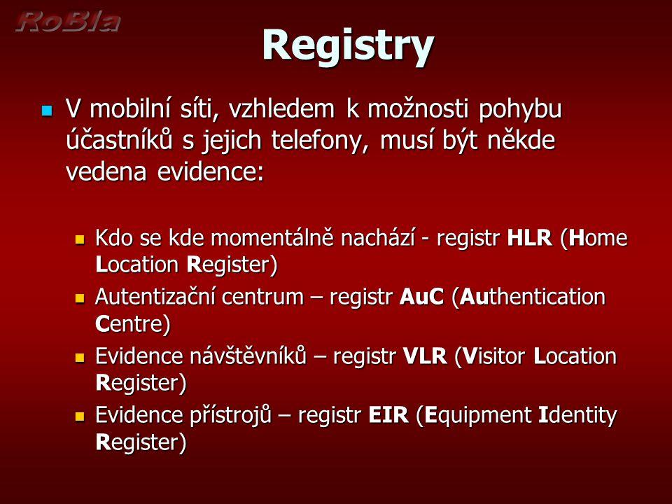Registry Registry V mobilní síti, vzhledem k možnosti pohybu účastníků s jejich telefony, musí být někde vedena evidence: V mobilní síti, vzhledem k možnosti pohybu účastníků s jejich telefony, musí být někde vedena evidence: Kdo se kde momentálně nachází - registr HLR (Home Location Register) Kdo se kde momentálně nachází - registr HLR (Home Location Register) Autentizační centrum – registr AuC (Authentication Centre) Autentizační centrum – registr AuC (Authentication Centre) Evidence návštěvníků – registr VLR (Visitor Location Register) Evidence návštěvníků – registr VLR (Visitor Location Register) Evidence přístrojů – registr EIR (Equipment Identity Register) Evidence přístrojů – registr EIR (Equipment Identity Register)