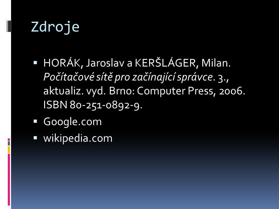 Zdroje  HORÁK, Jaroslav a KERŠLÁGER, Milan. Počítačové sítě pro začínající správce. 3., aktualiz. vyd. Brno: Computer Press, 2006. ISBN 80-251-0892-9