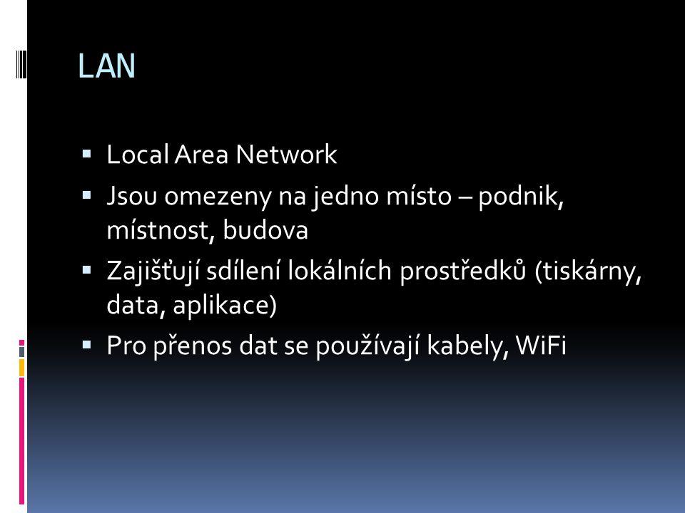 LAN  Local Area Network  Jsou omezeny na jedno místo – podnik, místnost, budova  Zajišťují sdílení lokálních prostředků (tiskárny, data, aplikace)