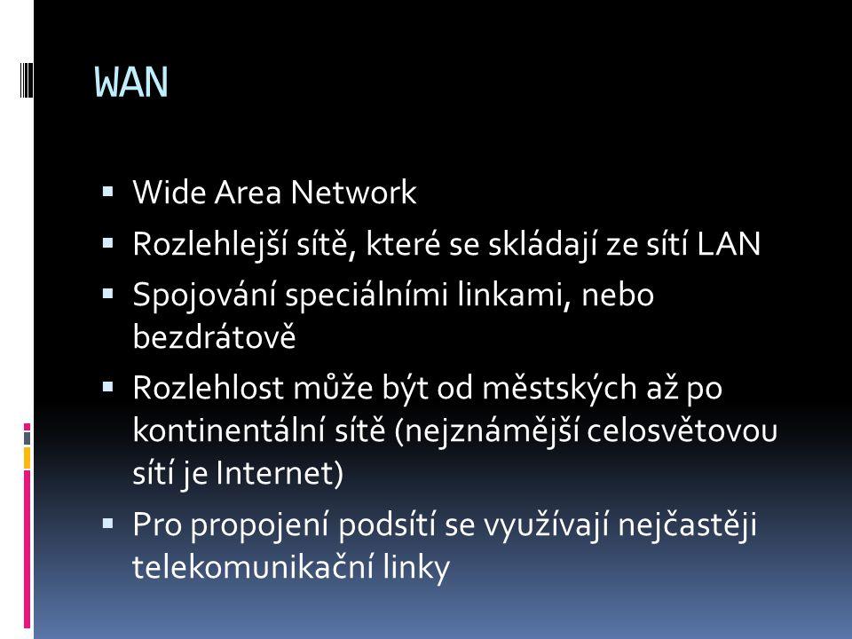 WAN  Wide Area Network  Rozlehlejší sítě, které se skládají ze sítí LAN  Spojování speciálními linkami, nebo bezdrátově  Rozlehlost může být od mě