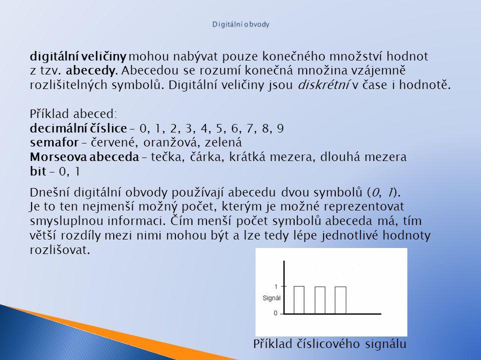 digitální veličiny mohou nabývat pouze konečného množství hodnot z tzv. abecedy. Abecedou se rozumí konečná množina vzájemně rozlišitelných symbolů. D