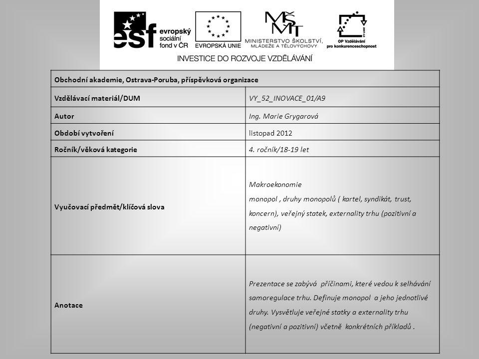 Obchodní akademie, Ostrava-Poruba, příspěvková organizace Vzdělávací materiál/DUMVY_52_INOVACE_01/A9 AutorIng. Marie Grygarová Období vytvořenílistopa