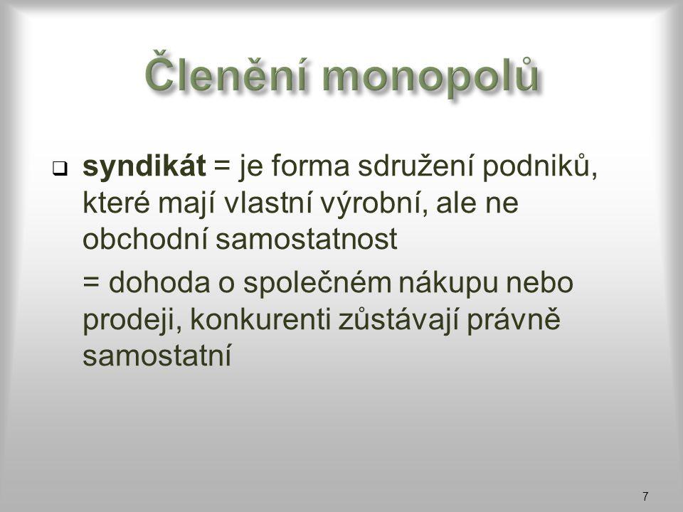  syndikát = je forma sdružení podniků, které mají vlastní výrobní, ale ne obchodní samostatnost = dohoda o společném nákupu nebo prodeji, konkurenti
