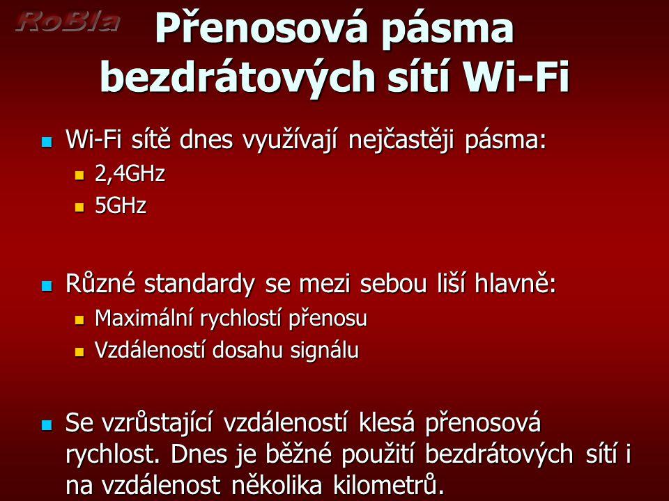 Přenosová pásma bezdrátových sítí Wi-Fi Wi-Fi sítě dnes využívají nejčastěji pásma: Wi-Fi sítě dnes využívají nejčastěji pásma: 2,4GHz 2,4GHz 5GHz 5GHz Různé standardy se mezi sebou liší hlavně: Různé standardy se mezi sebou liší hlavně: Maximální rychlostí přenosu Maximální rychlostí přenosu Vzdáleností dosahu signálu Vzdáleností dosahu signálu Se vzrůstající vzdáleností klesá přenosová rychlost.
