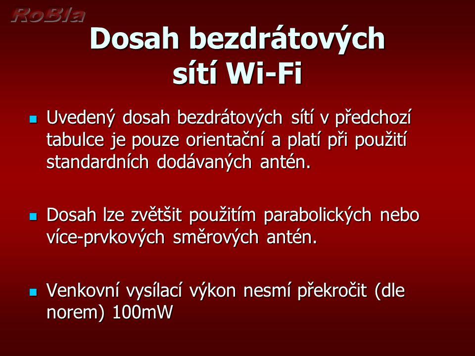 Dosah bezdrátových sítí Wi-Fi Uvedený dosah bezdrátových sítí v předchozí tabulce je pouze orientační a platí při použití standardních dodávaných antén.
