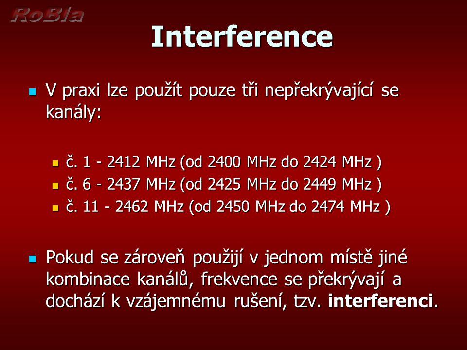 Interference Interference V praxi lze použít pouze tři nepřekrývající se kanály: V praxi lze použít pouze tři nepřekrývající se kanály: č.