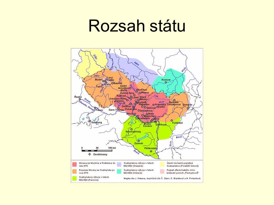 Svatopluk  870-894 největší rozsah státu (Čechy, Rakousko, Maďarsko) vznik velkých hradišť s paláci a kostely první kamenné stavby u nás rozvoj řemesel a obchodu Kde jsou nejznámnější archeologická naleziště z doby Velké Moravy?