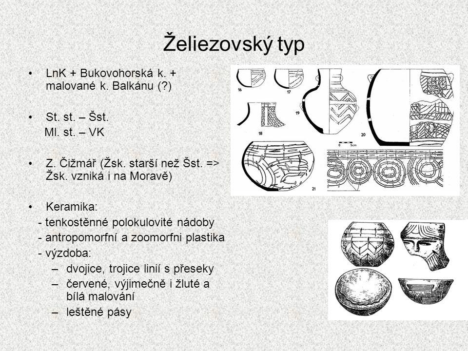 Želiezovský typ LnK + Bukovohorská k.+ malované k.