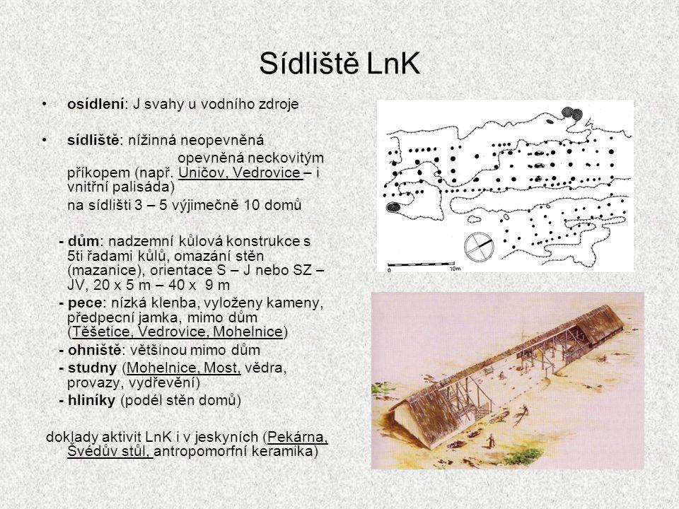 Pohřebiště LnK pohřební ritus - kostrový ve skrčené poloze na boku (levém) - ojediněle žárový pohřeb (Kralice u Prostějova) - ojedinělé hroby - pohřebiště mimo sídliště (Vedrovice – 96 hrobů v řadách V-Z) - hroby na sídlištích (Těšetice) - muži: kopytovité klíny, šipky - ženy: spondylový šperk, zrnotěrky