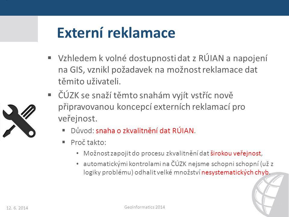 Externí reklamace  Vzhledem k volné dostupnosti dat z RÚIAN a napojení na GIS, vznikl požadavek na možnost reklamace dat těmito uživateli.  ČÚZK se