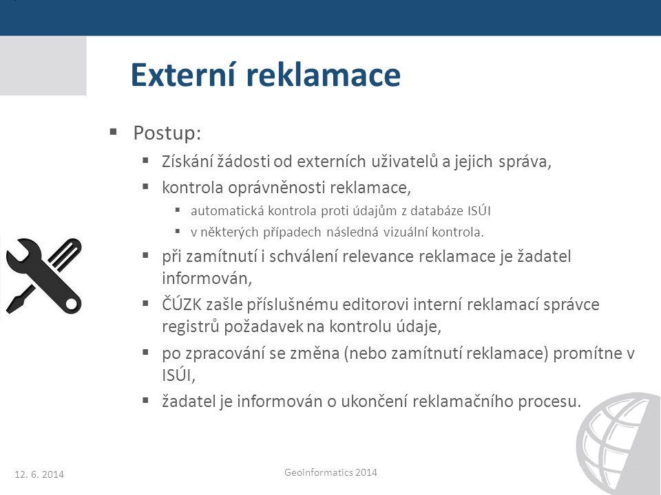 Externí reklamace  Postup:  Získání žádosti od externích uživatelů a jejich správa,  kontrola oprávněnosti reklamace,  automatická kontrola proti