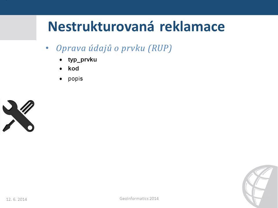 Nestrukturovaná reklamace Oprava údajů o prvku (RUP)  typ_prvku  kod  popis 12. 6. 2014 Geoinformatics 2014