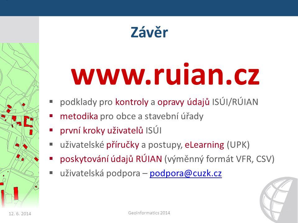 Závěr www.ruian.cz  podklady pro kontroly a opravy údajů ISÚI/RÚIAN  metodika pro obce a stavební úřady  první kroky uživatelů ISÚI  uživatelské p