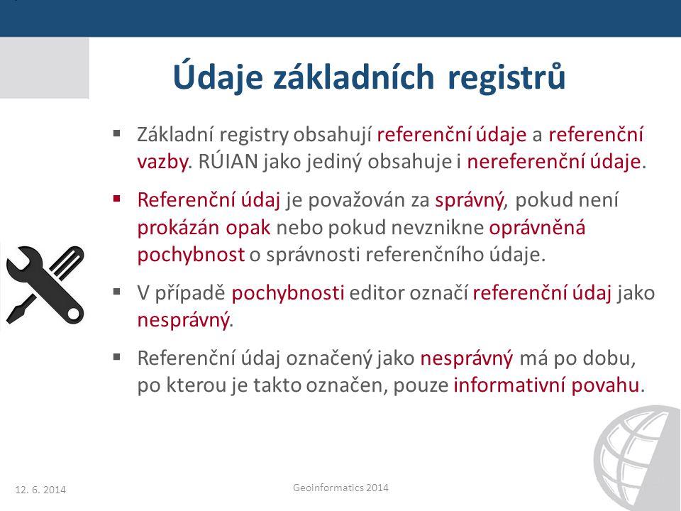 Údaje základních registrů 12. 6. 2014 Geoinformatics 2014  Základní registry obsahují referenční údaje a referenční vazby. RÚIAN jako jediný obsahuje
