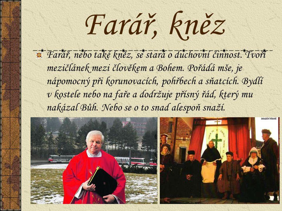 Farář, kněz Farář, nebo také kněz, se stará o duchovní činnost. Tvoří mezičlánek mezi člověkem a Bohem. Pořádá mše, je nápomocný při korunovacích, poh
