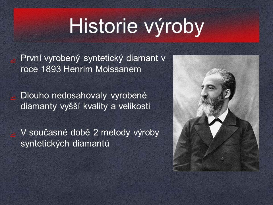 Historie výroby ﮱ První vyrobený syntetický diamant v roce 1893 Henrim Moissanem ﮱ Dlouho nedosahovaly vyrobené diamanty vyšší kvality a velikosti ﮱ V