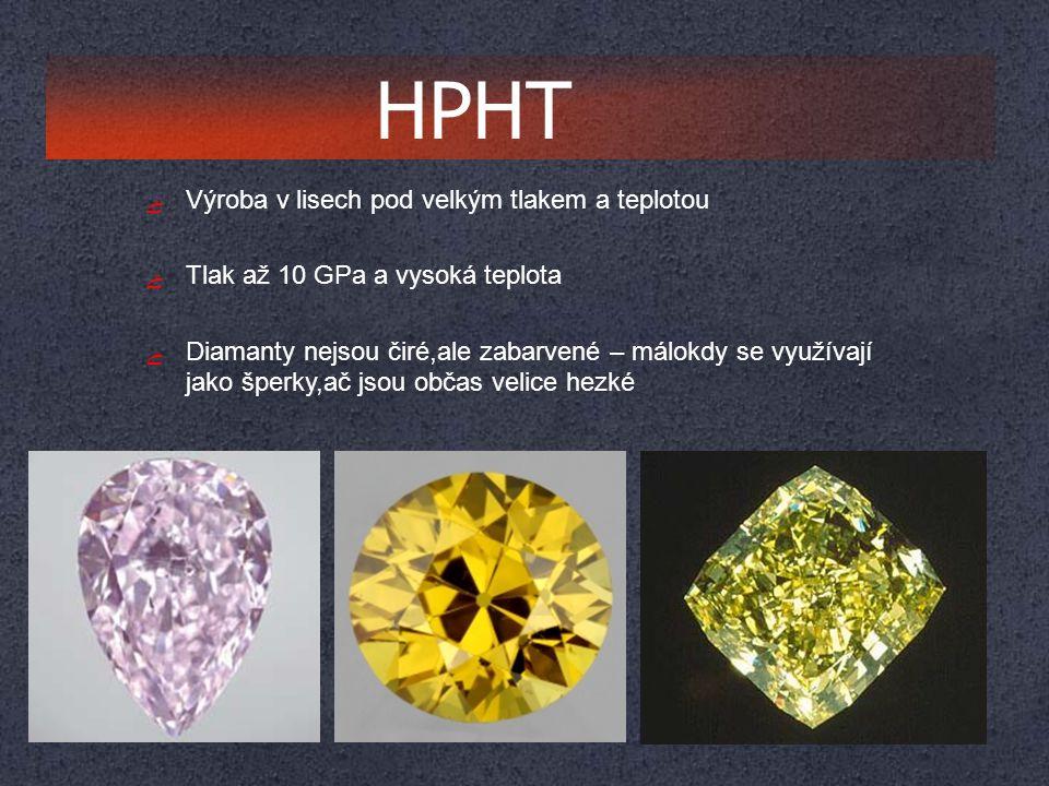 ﮱ Výroba v lisech pod velkým tlakem a teplotou ﮱ Tlak až 10 GPa a vysoká teplota ﮱ Diamanty nejsou čiré,ale zabarvené – málokdy se využívají jako šper