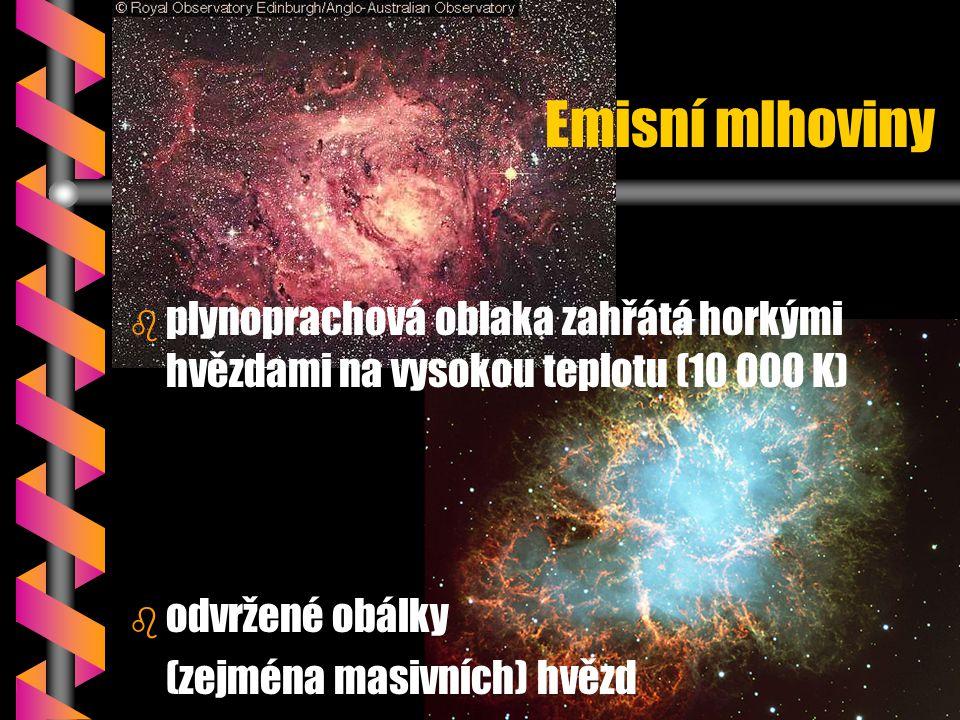 Emisní mlhoviny b b plynoprachová oblaka zahřátá horkými hvězdami na vysokou teplotu (10 000 K) b b odvržené obálky (zejména masivních) hvězd