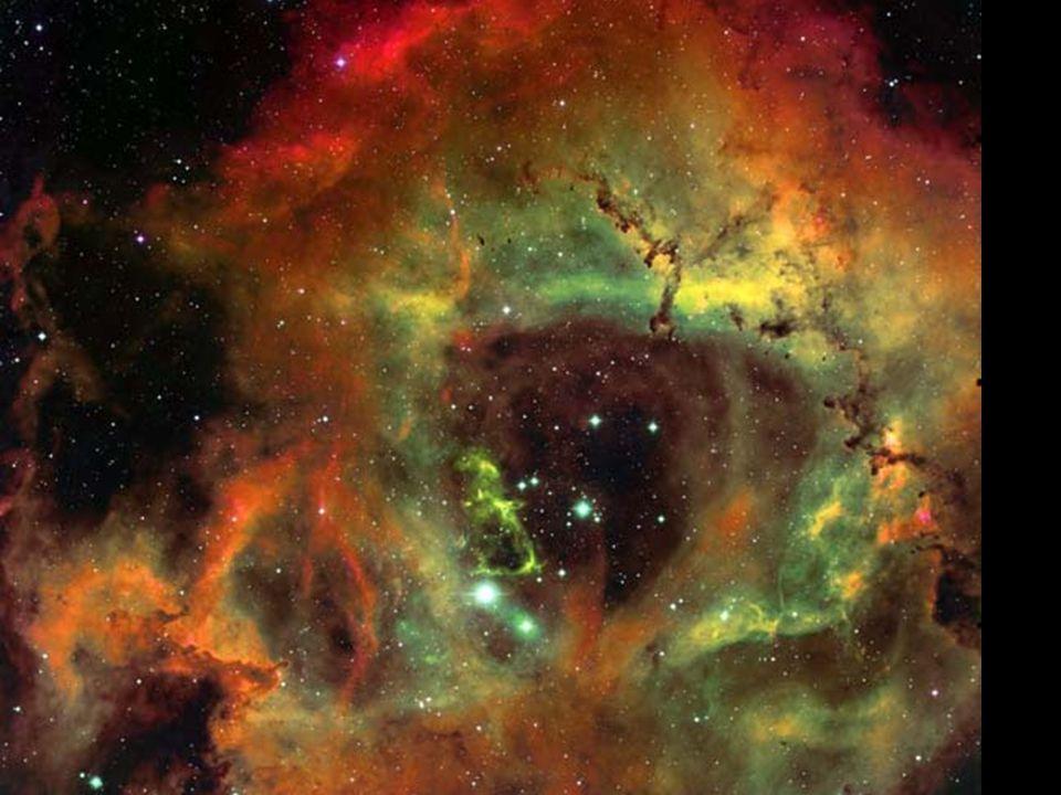 Rozeta (NGC 2237) b b v souhvězdí Jednorožce b b vzdálenost: 3000 světelných let b b uvnitř mlhoviny: otevřená hvězdokupa NGC 2244 (hvězdy vznikly z m