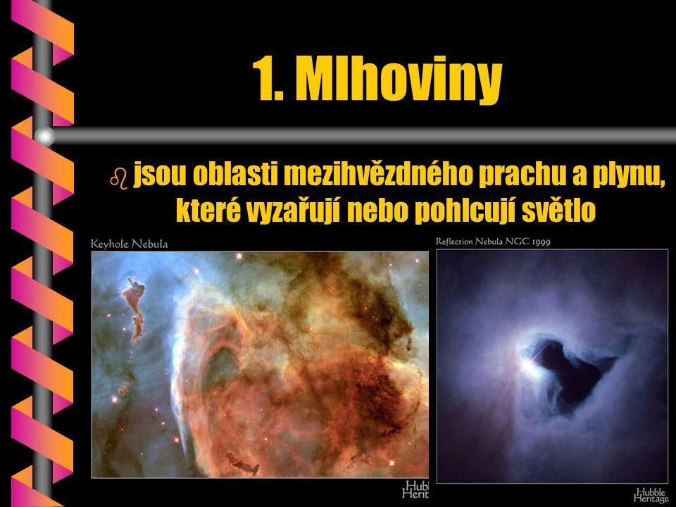 1. Mlhoviny b b jsou oblasti mezihvězdného prachu a plynu, které vyzařují nebo pohlcují světlo