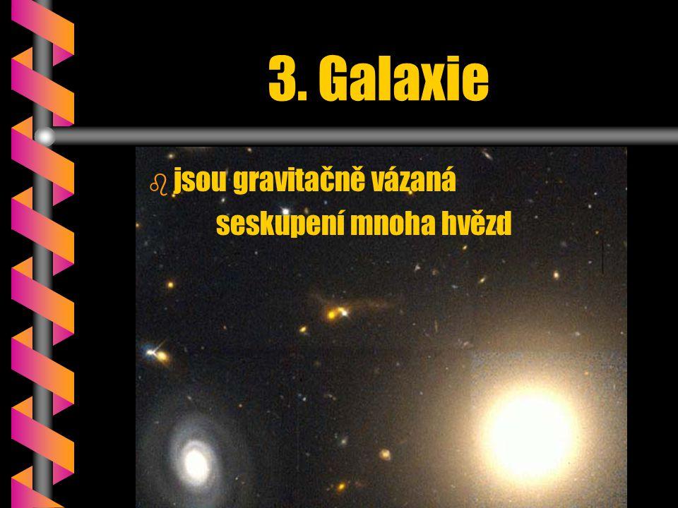 3. Galaxie b b jsou gravitačně vázaná seskupení mnoha hvězd