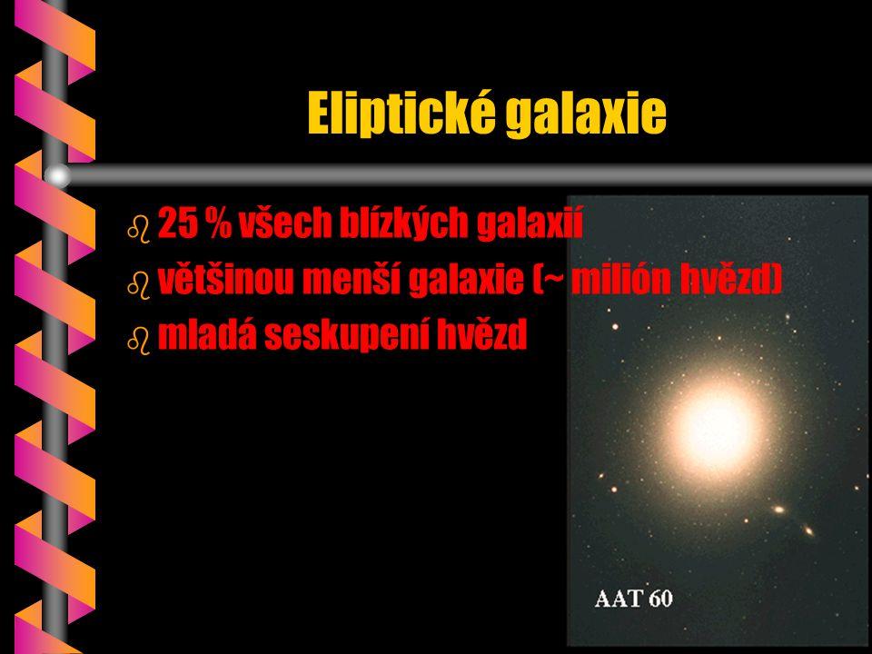 Eliptické galaxie b b 25 % všech blízkých galaxií b b většinou menší galaxie (~ milión hvězd) b b mladá seskupení hvězd